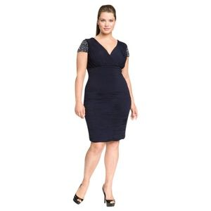 NEW JS Boutique Blue Beaded Ruched Jersey Dress